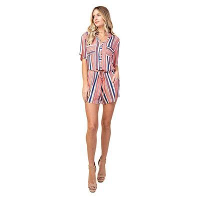 Kori America Women's Stripe Button Down Romper