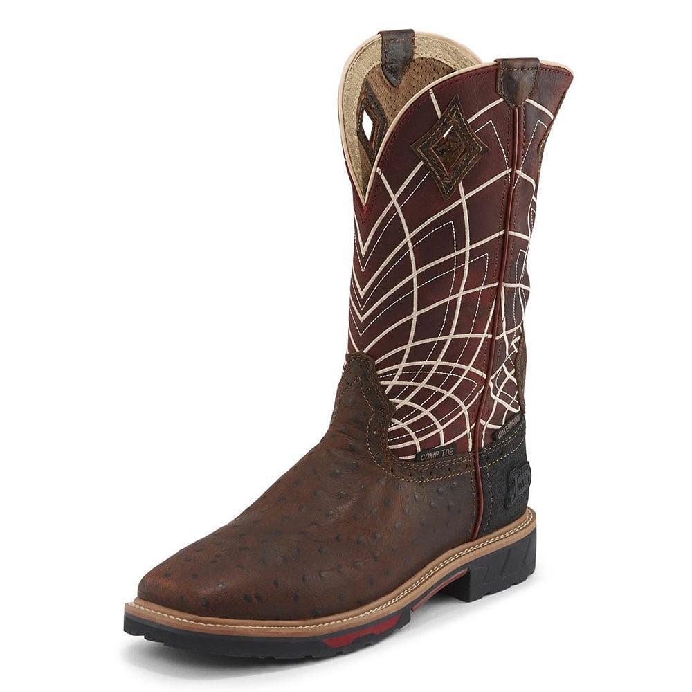 c5843c31843 Justin Mens Derrickman Ostrich Print Work Boots
