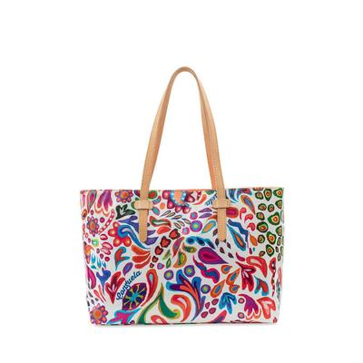 Consuela's White Swirly East/West Tote