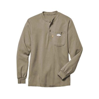 Rasco Men's Khaki FR Long Sleeve Henley T-Shirt