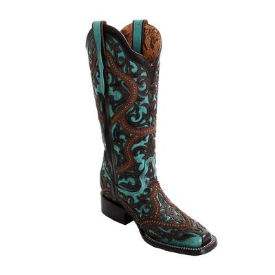 Corral Women's Square Toe Turquoise & Brown Laser Overlay Boots