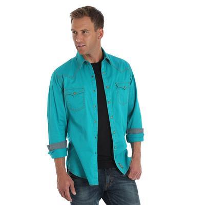 Wrangler Men's Long Sleeve Retro Modern Fit Snap Shirt