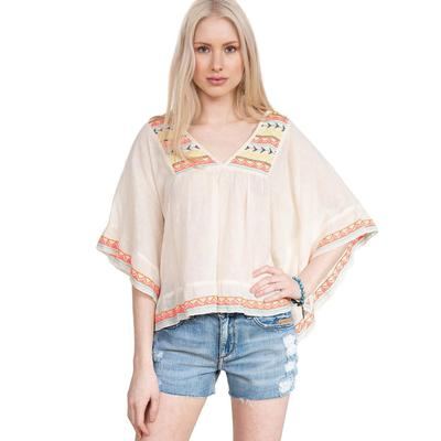 Cousin Earl Women's Embroidered Poncho Top