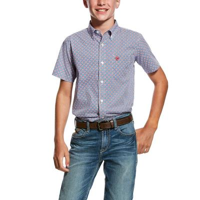 Ariat Boy's Short Sleeve Printed Button Down