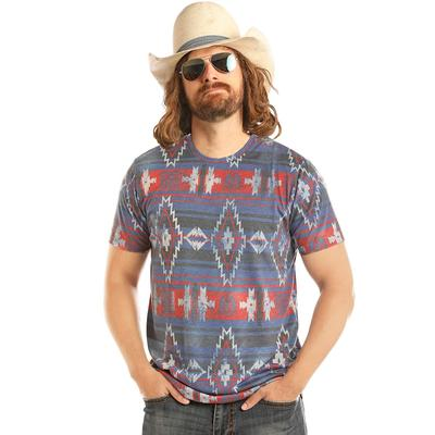 Panhandle Men's Short Sleeve Aztec Print T-Shirt