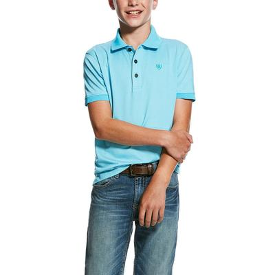 Ariat Boy's Turquoise Reef Mini Stripe Tek Polo