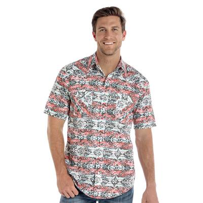 Panhandle Men's Short Sleeve Printed Two Pocket Snap Shirt