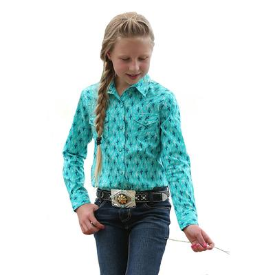 Cruel Girl Girl's Turquoise and Blue Cactus Print Snap Shirt