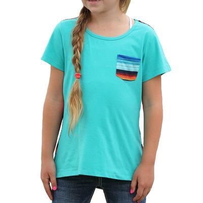 Cruel Girl Girl's Turquoise and Serape Print Pocket Tee