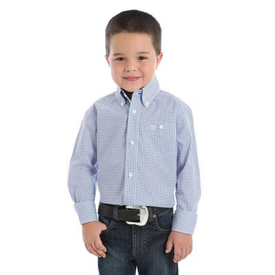 Wrangler Boy's Classic Blue and White Print Button Shirt