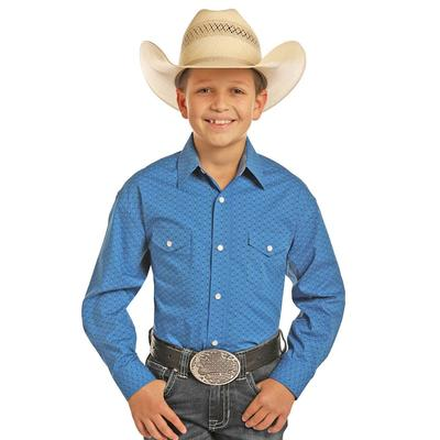 Panhandle Slim Boy's Long Sleeve Blue Print Snap Shirt
