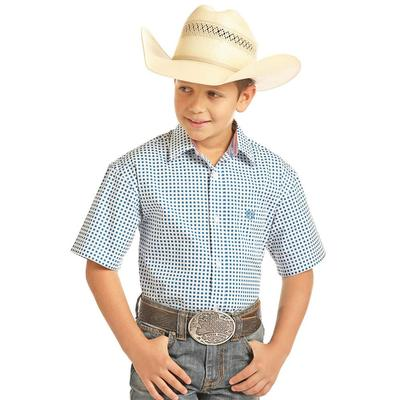 Panhandle Slim Boy's Blue and White Peached Poplin Print Shirt
