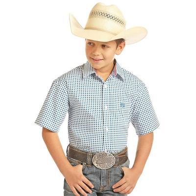 90187f3e6 Panhandle Slim Boy's Blue and White Peached Poplin Print Shirt