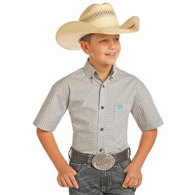 caf270a0b Panhandle Slim Boy's Grey Diamond and Star Print Button Shirt