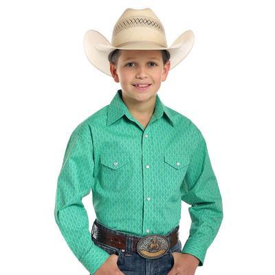 Panhandle Slim Boy's Green Miramonte Vintage Print Shirt