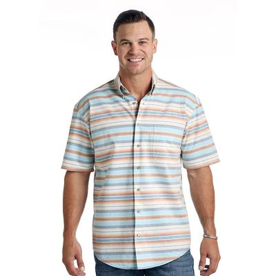 Panhandle Slim Men's Short Sleeve Stripe Button Down Shirt