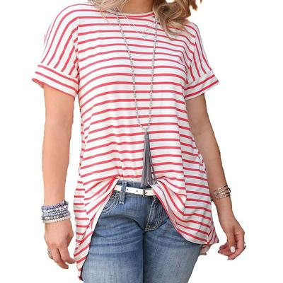 Cruel Girl Women's Red and White Stripe High-Low Tee
