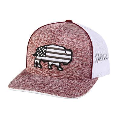Red Dirt Hat Co.'s Heather Maroon USA Buffalo Cap