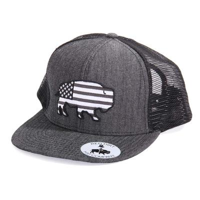 Red Dirt Hat Co.'s Heather Black Greyscale USA Buffalo Cap