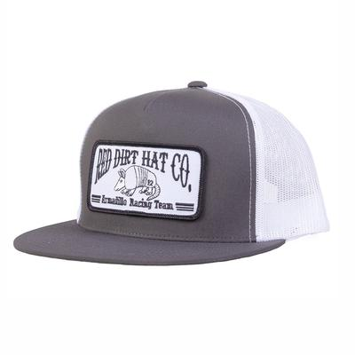 Red Dirt Hat Co.'s Grey and White Dillo Racing Team Cap