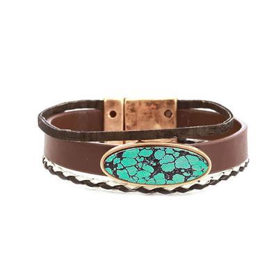Three Strand Leather Turquoise Bracelet