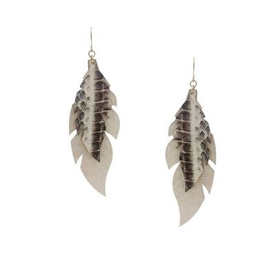 Sammi Trading Double Leather Feather Earring