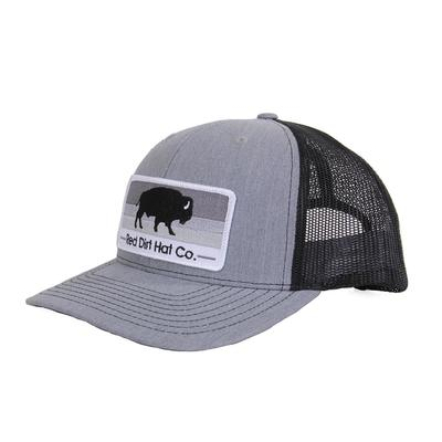Red Dirt Hat Co.'s Grey and Black Grey Scale Buffalo Patch Cap
