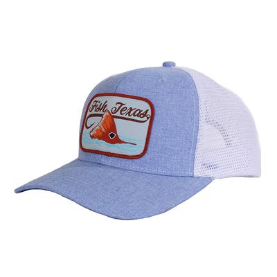 Red Dirt Hat Co.'s Heathered Blue and White Fish Texas Cap