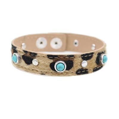 Studded Leopard Snap Bracelet