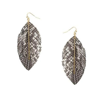 Leather Feather Printed Earrings