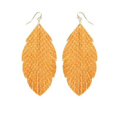Leather Feather Texture Earrings