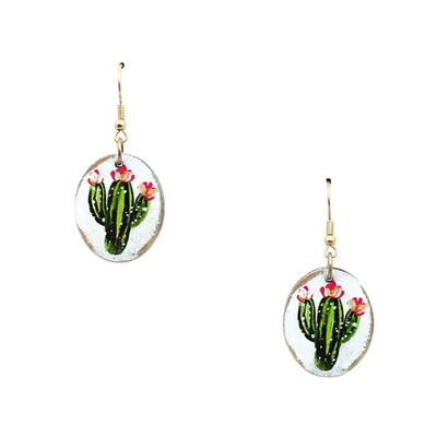 Painted Cactus Earrings