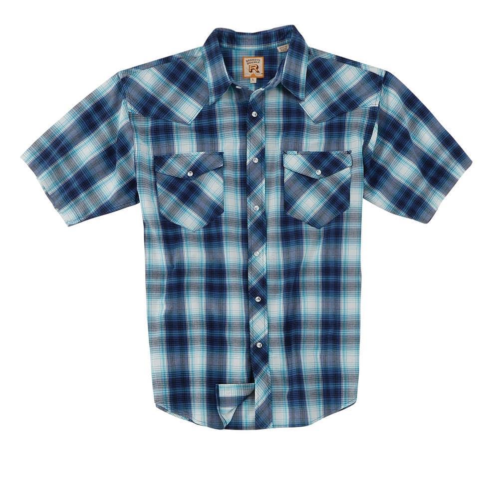 Resistol Mens Short Sleeve Saguaro Ombre Plaid Shirt