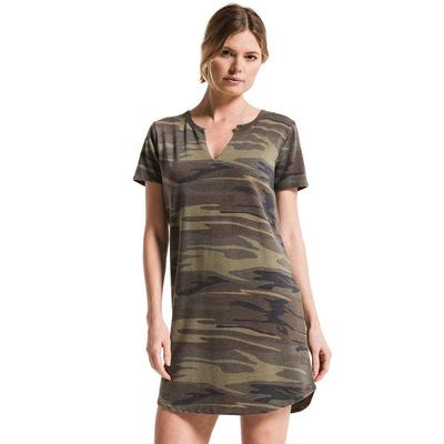 Z Supply Women's Short Sleeve Camo Split Neck Dress