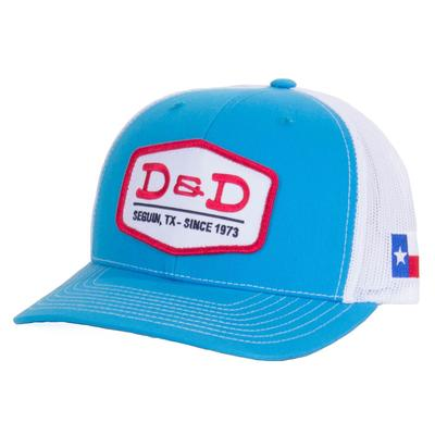 D & D Texas Outfitters Turquoise and White Texas Flap Cap