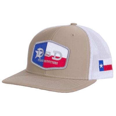 D & D Texas Outfitters Khaki and White Texas Flap Cap