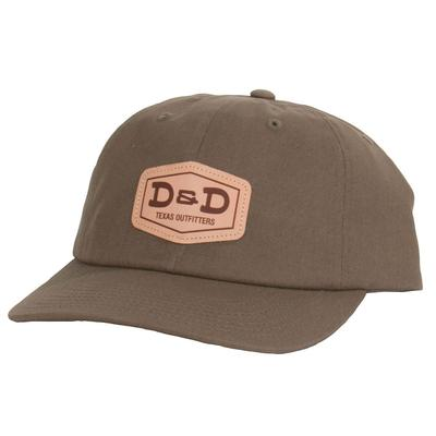 D & D Texas Outfitters Leather Patch Olive Cap