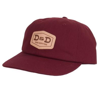 D & D Texas Outfitters Leather Patch Maroon Cap