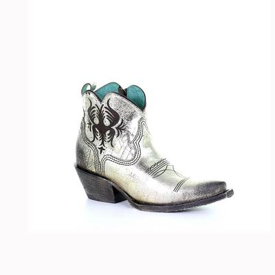Corral Women's Snip Silver Engraved Ankle Boot