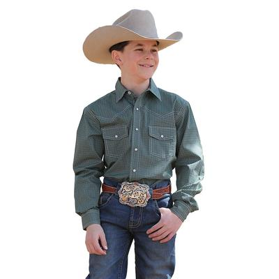 Cinch Boy's Olive and Navy Print Snap Shirt