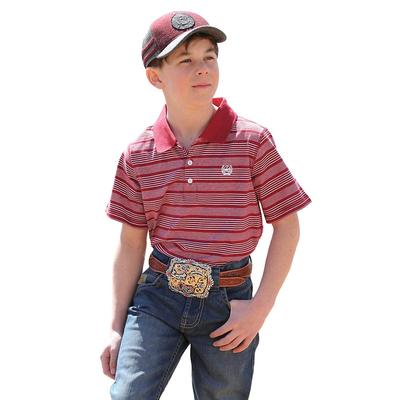 Cinch Boy's Burgundy and White Striped Polo