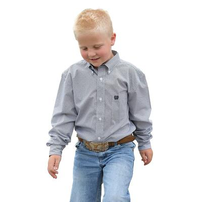 Cinch Boy's Navy and White Print Shirt