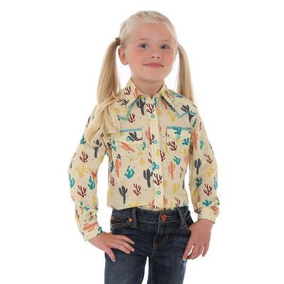 Wrangler Girl's Cactus Print Snap Shirt