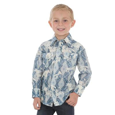 Wrangler Boy's Blue Checotah Print Shirt
