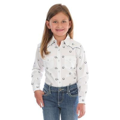 Wrangler Girl's Horseshoe Print Snap Shirt