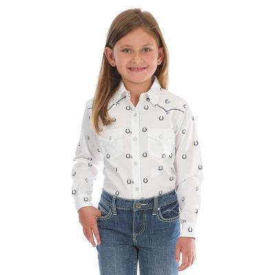 Wrangler Girl's Horseshoe Print Snap Shirt