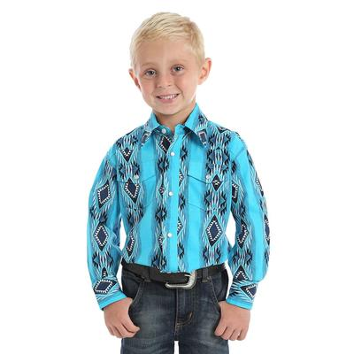 Wrangler Boy's Turquoise Checotah Print Shirt