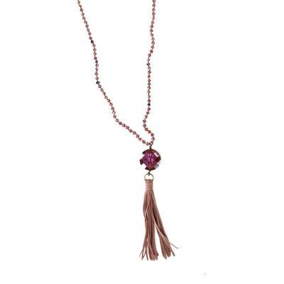 Pink Panache's Tassel & Large Stone Beaded Necklace
