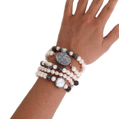 Pink Panache's Beaded & Large Stone Bracelet Set