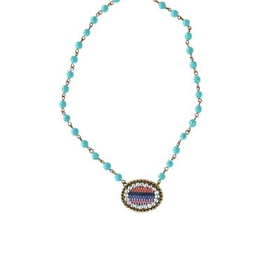 Pink Panache's Oval Pendant Turquoise Beaded Necklace